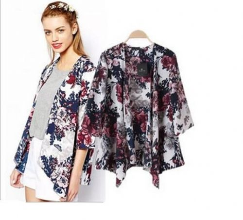 Women Ladies Oversized Floral Flower Print Kimono Open Cardigan Cape Coat